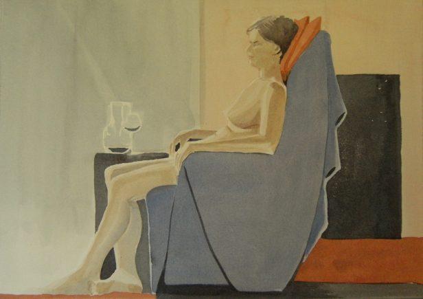 Modell, akvarell 2013 0615-16 132 beskuren, målare(painter): Marica Ohlsson
